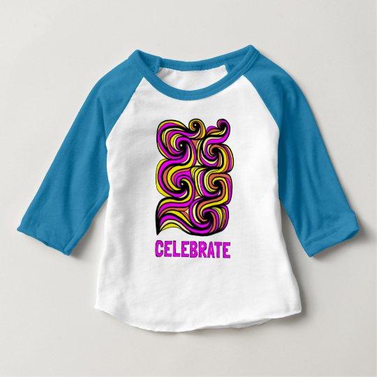 """""""Celebrate"""" Baby 3/4 Raglan T-Shirt"""
