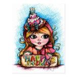 Celebrate! Big Eye Birthday Girl Postcard