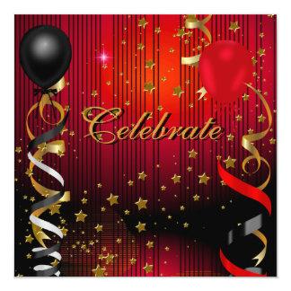 Celebrate Birthday Party Black Red Stars Card