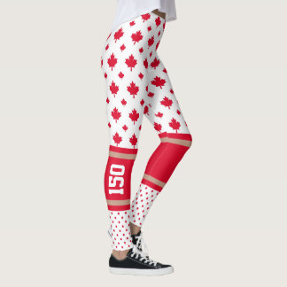Celebrate Canada 150 Years Maple Leaf Pattern Leggings