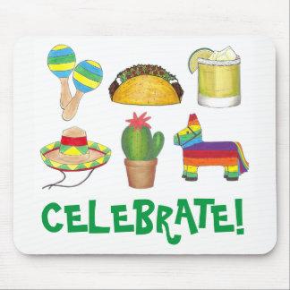 Celebrate Cinco de Mayo Fiesta Pinata Taco Cactus Mouse Pad