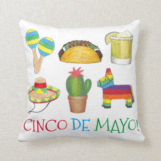 Celebrate Cinco de Mayo Mexico Fiesta Party Print Throw Pillow