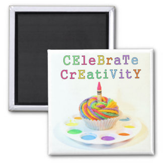 Celebrate Creativity Cupcake Photography Square Magnet