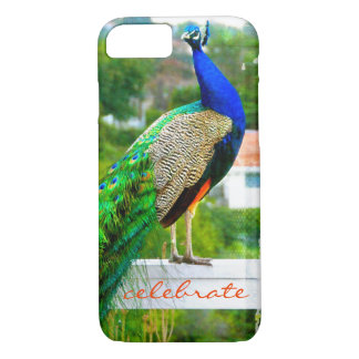 """Celebrate"" Cute, Stylish Blue Green Peacock Photo Case-Mate iPhone Case"