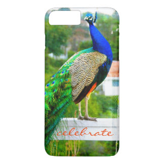 """Celebrate"" Cute, Stylish Blue Green Peacock Photo iPhone 8 Plus/7 Plus Case"