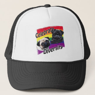 Celebrate Diversity Black and Fawn Pug Trucker Hat