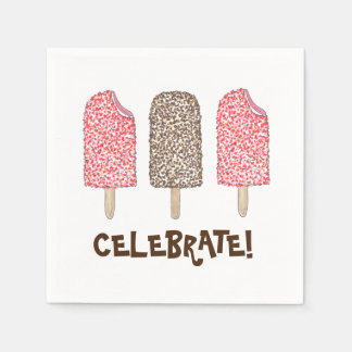Celebrate! Eclair Ice Cream Popsicles Napkins Disposable Napkins