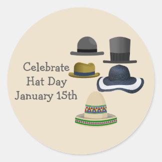 Celebrate Hat Day   January 15th Classic Round Sticker