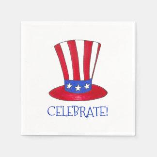 Celebrate July 4th Patriotic Uncle Sam USA America Disposable Napkin