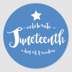 Celebrate Juneteenth Blue Classic Round Sticker
