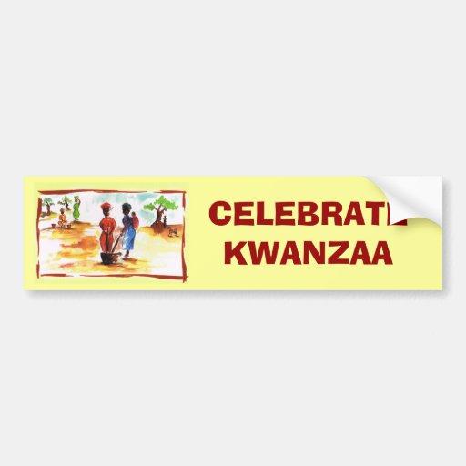Celebrate Kwanzaa, Africa village life Bumper Stickers