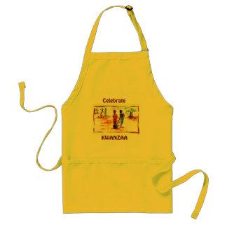 Celebrate Kwanzaa, Africa village life Standard Apron