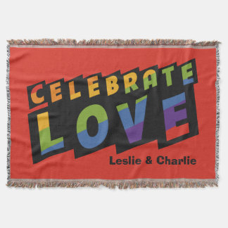 Celebrate Love custom monogram throw blanket