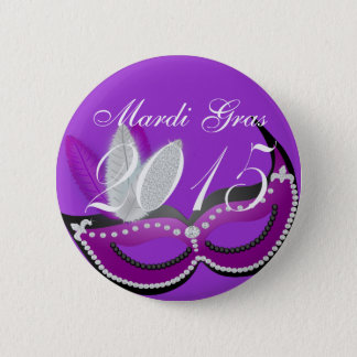 Celebrate Mardi Gras 2015 Venetian Mask 2 Inch Round Button