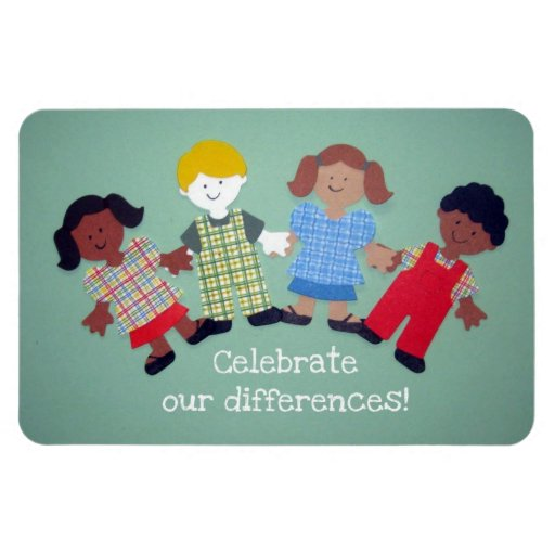 Celebrate our differences! rectangle magnets