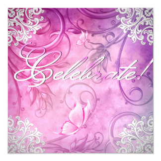 "Celebrate Pink White Butterfly Floral Birthday 5.25"" Square Invitation Card"