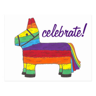 Celebrate Rainbow Piñata Mexico Fiesta Party Pride Postcard