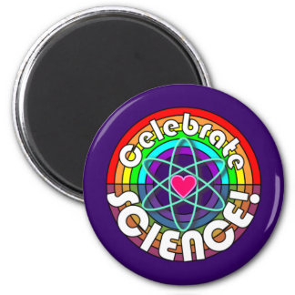 Celebrate Science! Rainbow atom and heart magnet