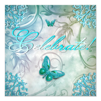 "Celebrate Teal Blue Butterfly Floral Birthday 5.25"" Square Invitation Card"