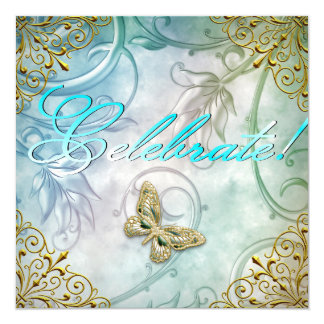 "Celebrate Teal Blue Butterfly Floral Gold Party 5.25"" Square Invitation Card"
