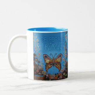Celebrate the Butterfly (bright blue) Mission Kids Two-Tone Coffee Mug