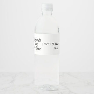 Celebrate the New Year, Silver & Black Water Bottle Label