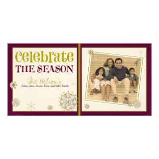 Celebrate the Season Snowflake Holiday 05 Customized Photo Card