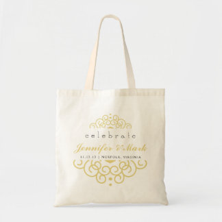 Celebrate Wedding Event Tote Favor in Yellow Gold