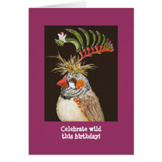 Celebrate wild this birthday! zebra finch card