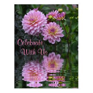 """Celebrate With Us"" Dahlia Invitation Postcard"