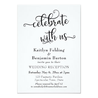 """Celebrate with Us"" Typography Wedding Reception Card"