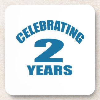 Celebrating 02 Years Birthday Designs Coaster