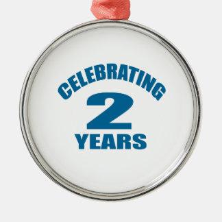 Celebrating 02 Years Birthday Designs Metal Ornament