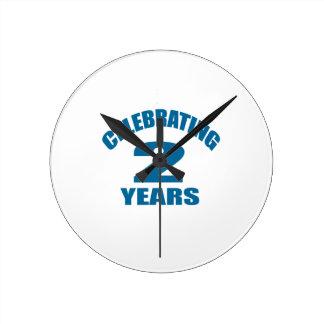 Celebrating 02 Years Birthday Designs Round Clock