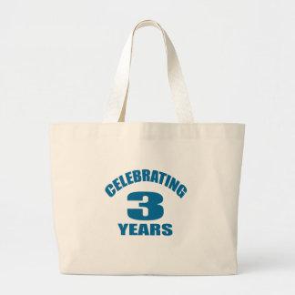 Celebrating 03 Years Birthday Designs Large Tote Bag