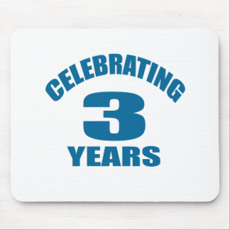 Celebrating 03 Years Birthday Designs Mouse Pad