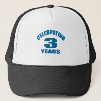 Celebrating 03 Years Birthday Designs Trucker Hat