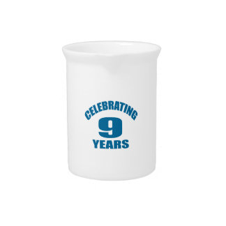 Celebrating 09 Years Birthday Designs Pitcher