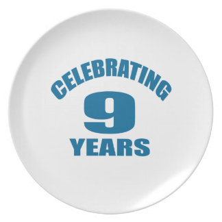 Celebrating 09 Years Birthday Designs Plate