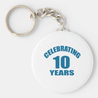 Celebrating 10 Years Birthday Designs Keychain
