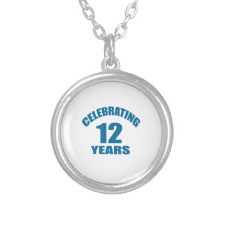 Celebrating 12 Years Birthday Designs Silver Plated Necklace