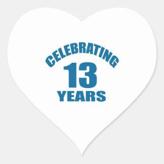 Celebrating 13 Years Birthday Designs Heart Sticker