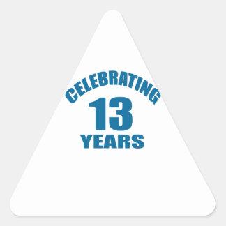Celebrating 13 Years Birthday Designs Triangle Sticker