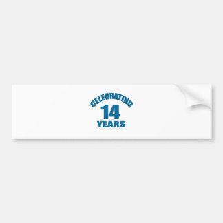 Celebrating 14 Years Birthday Designs Bumper Sticker