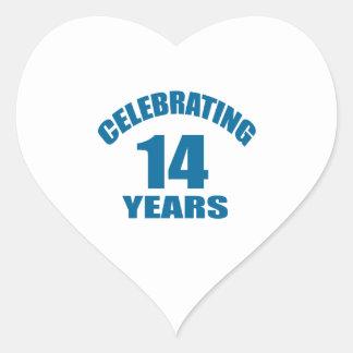 Celebrating 14 Years Birthday Designs Heart Sticker