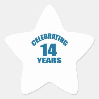 Celebrating 14 Years Birthday Designs Star Sticker