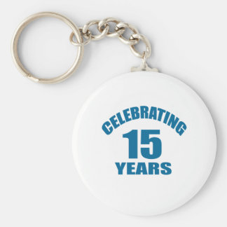 Celebrating 15 Years Birthday Designs Keychain