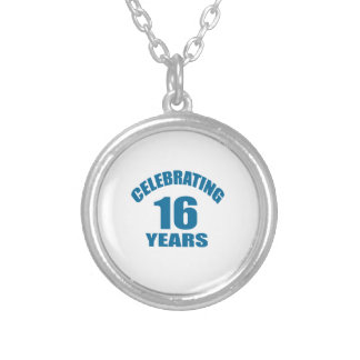 Celebrating 16 Years Birthday Designs Silver Plated Necklace