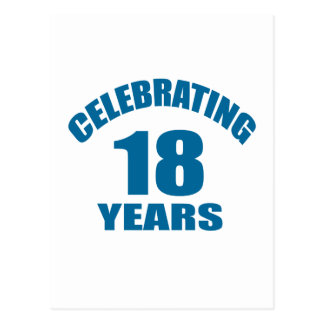 Celebrating 18 Years Birthday Designs Postcard