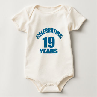 Celebrating 19 Years Birthday Designs Baby Bodysuit